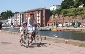 Devon Cycling on the Tour de Manche at Exeter Quay