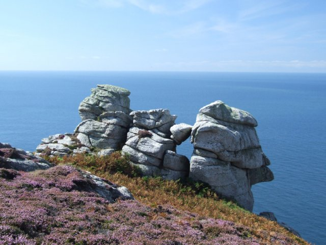 Rock formations on the west side of Lundy